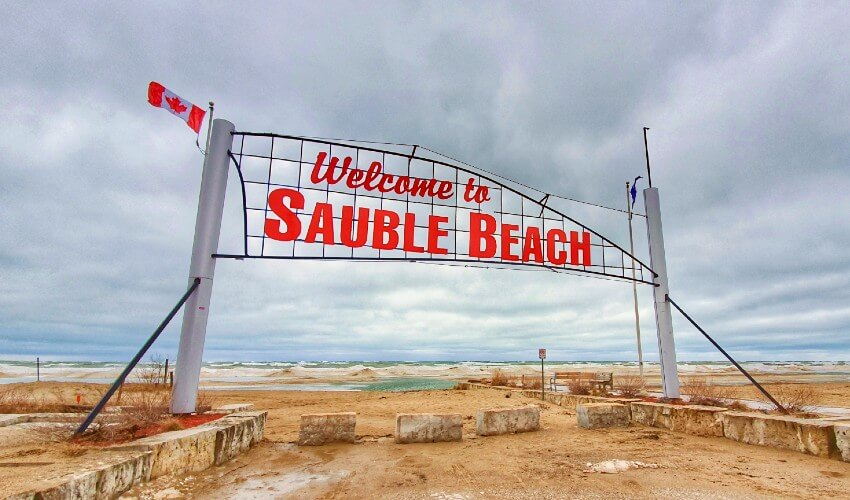 Welcome to Sauble Beach sign.