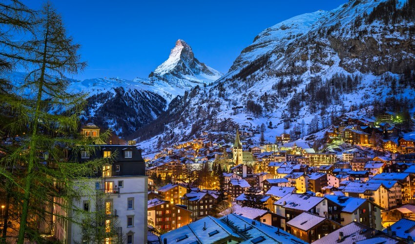 Aerial view of Zermatt Valley and Matterhorn Peak.
