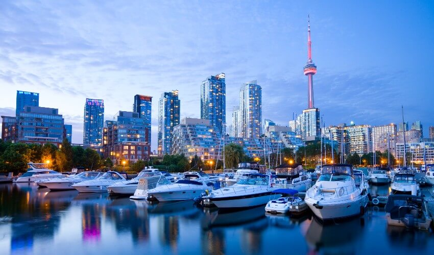 Waterfront and marina in downtown Toronto.
