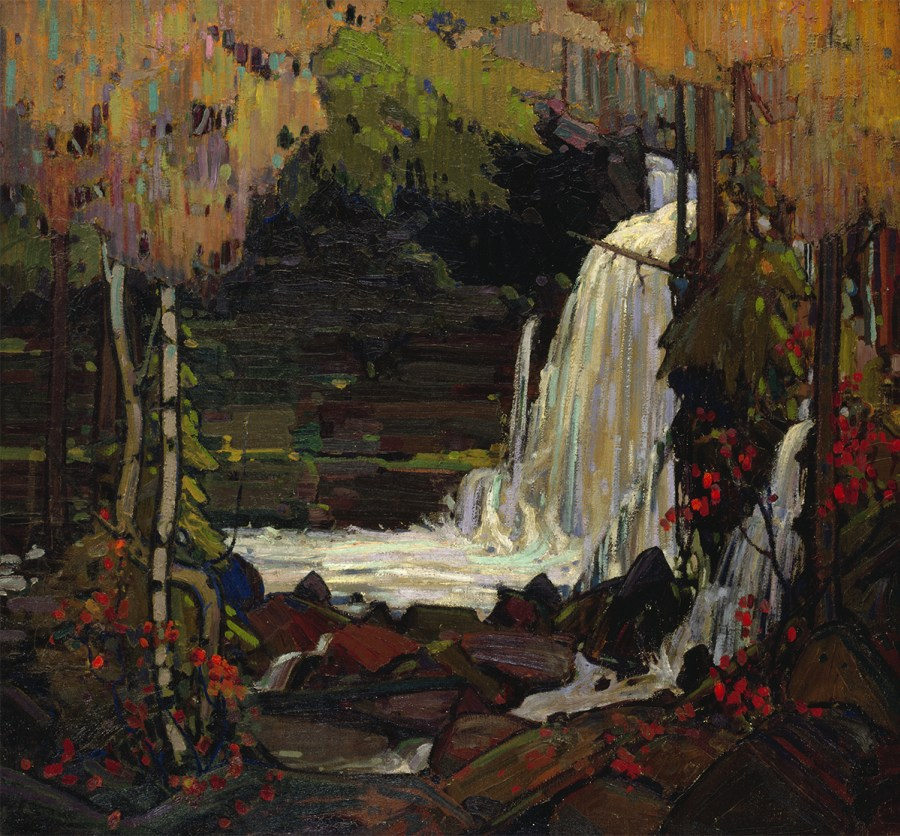 Photo of Tom Thompson (1877-1917) Woodland Waterfall 1916-1917 oil on canvas, McMichael Canadian Art Collection.