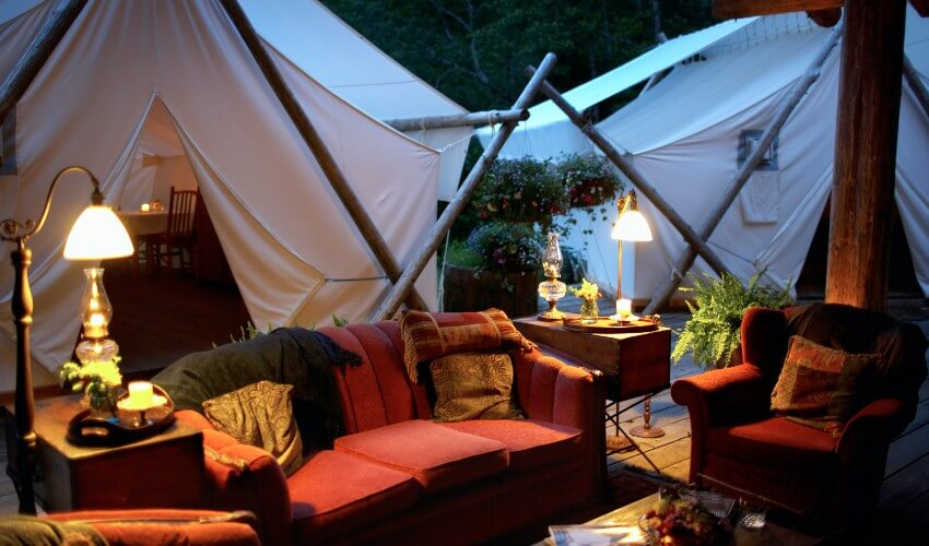 Outdoor living room and tents.