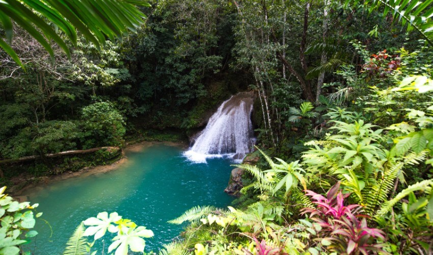 Waterfall of the Blue Hole, Jamaica.