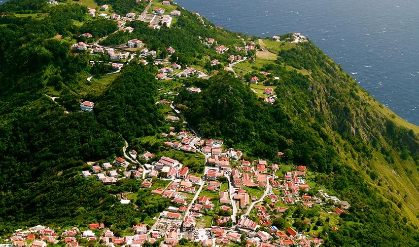 Top Island View of Saba, Dutch West Indies, Caribbeans