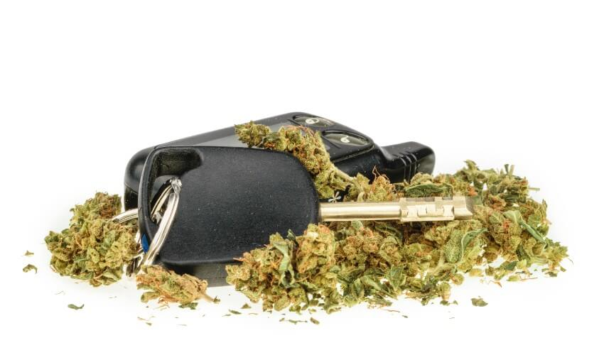 Marijuana and car key on a white background.