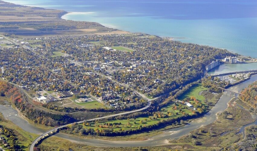 Aerial view of Goderich, Ontario.