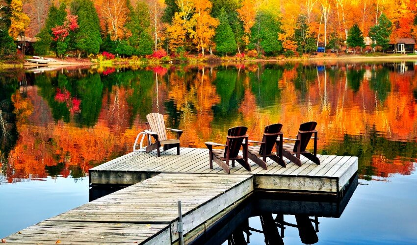 Muskoka chairs overlooking a tranquil lake that mirrors autumn foliage.