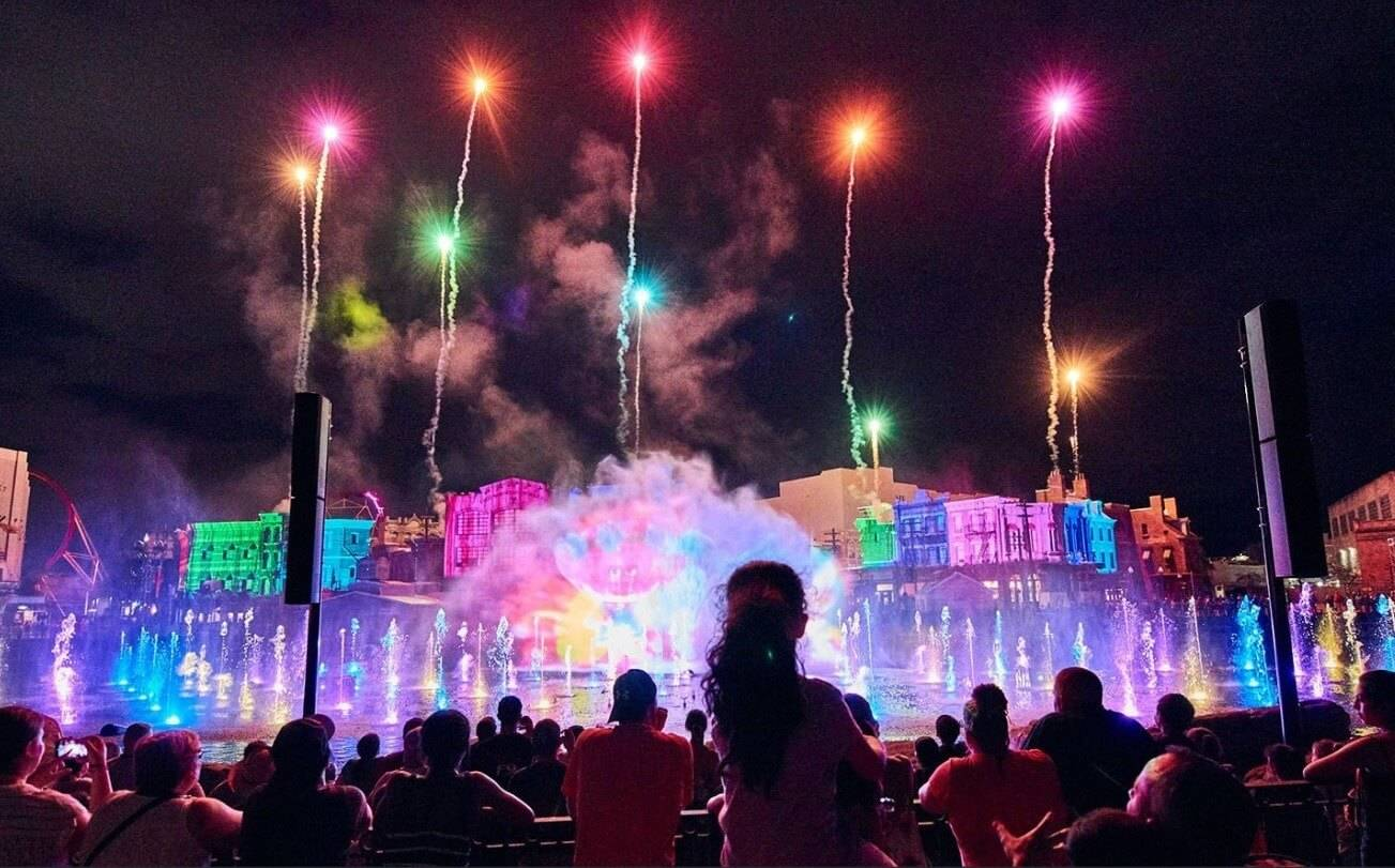A fireworks display at night in Orlando Universal Studio