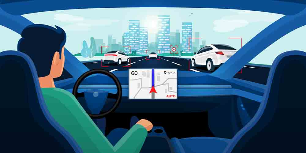 An illustration shows the interior of an autonomous vehicle from the driver's perspective