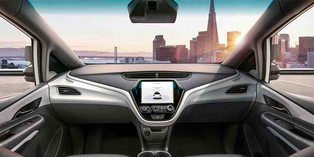 The interior of a self-driving car.