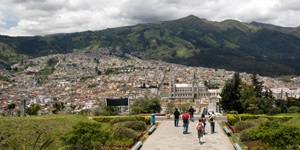 The mountainous terrain and sprawling city of Quito, Ecuador