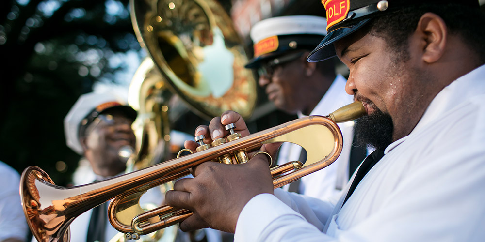 A brass band plays in Louisiana
