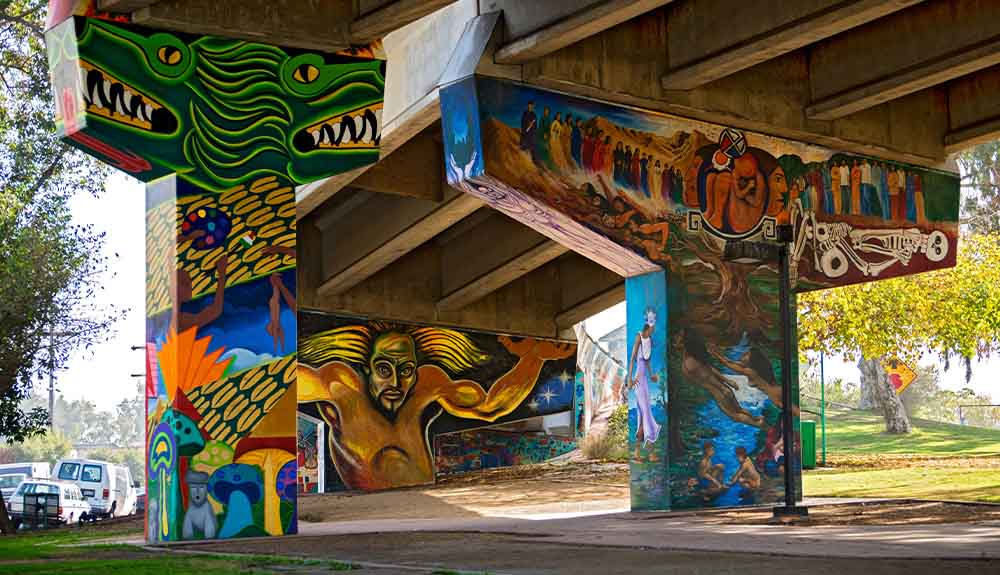 Vibrant murals at the Chicano Museum