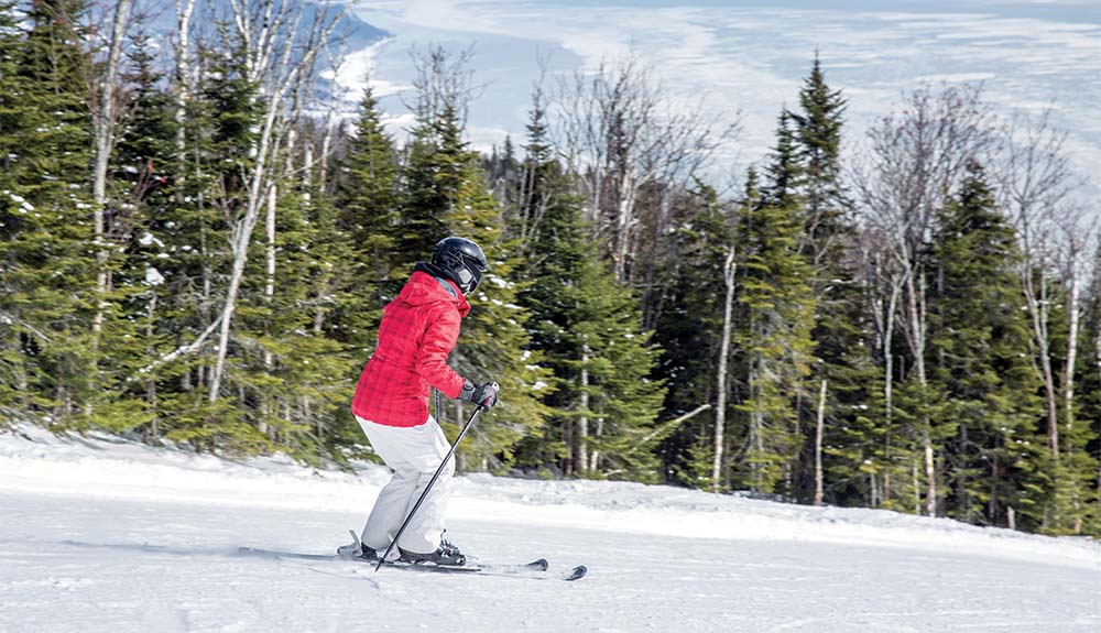 Person in red jacket skiing past pine trees at Le Massif de Charlevoix in Quebec Canada