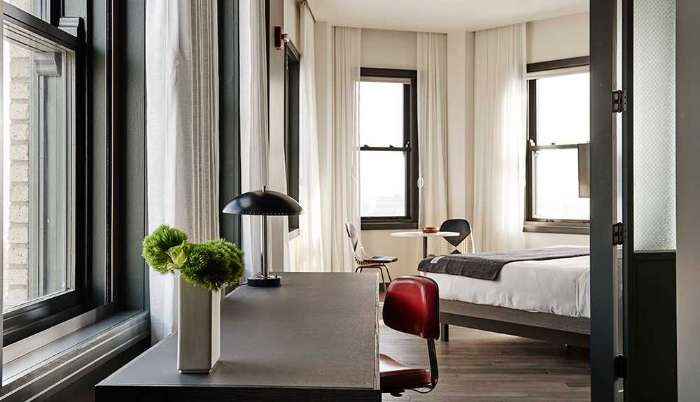 A room at The Robey Hotel in Chicago
