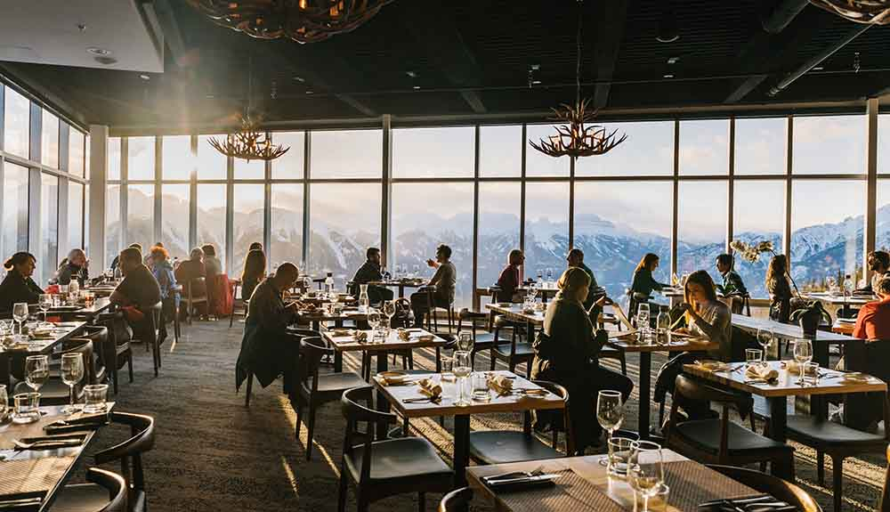 The dining room at Sky Bistro overlooking the mountains.