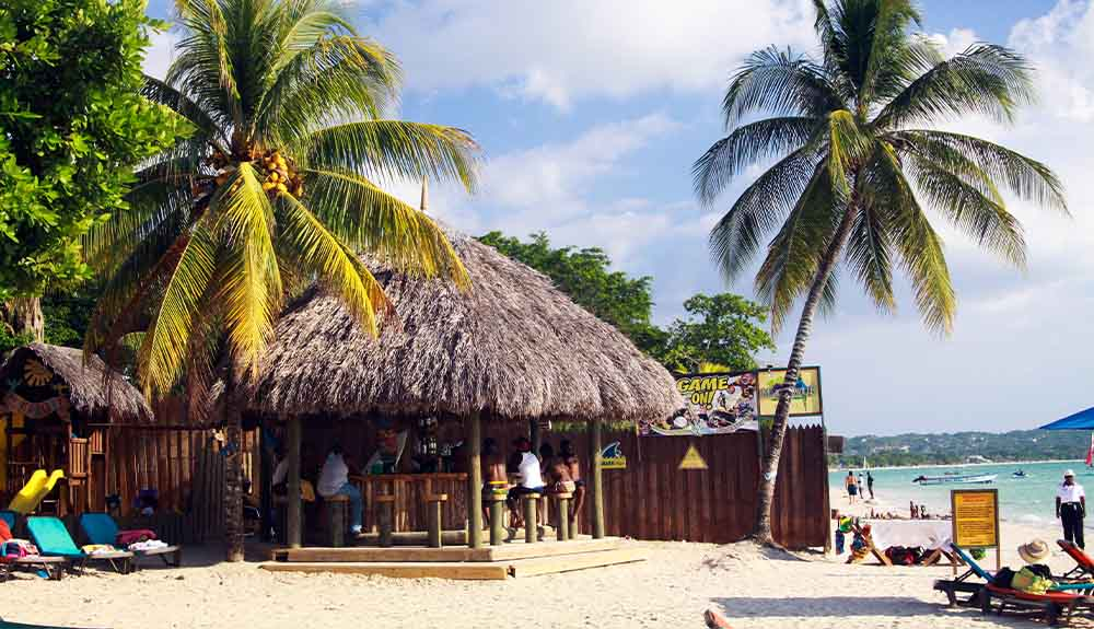 Bourbon Beach restaurant and bar on Seven Mile Beach in Negril, Jamaica