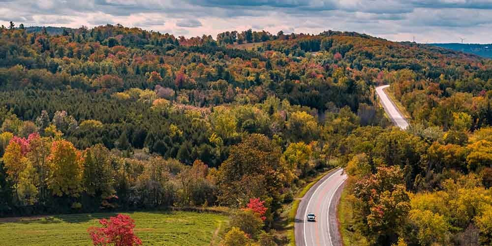 Aerial view of road going over tree covered hills in Kawarthas Northumberland