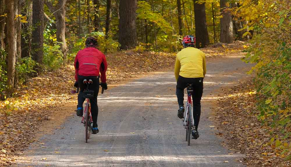 Two cyclists are shown on a bike path in the Kawarthas Northumberland region in the fall