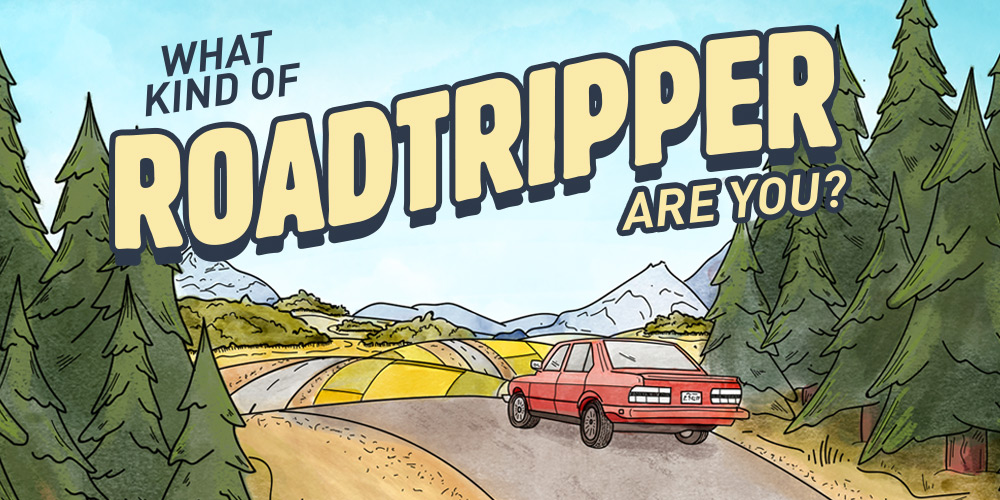 Illustration of a red car driving on a road with trees and mountains with text that reads 'what kind of road tripper are you?'