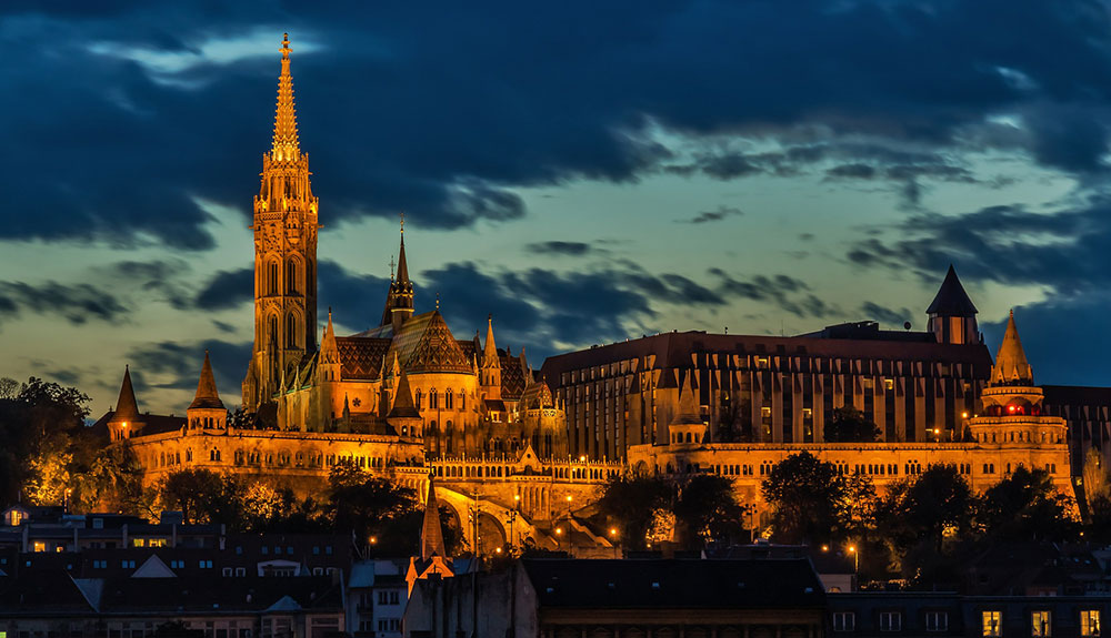 Stunning European architecture illuminated by lights at night