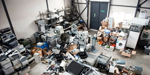 Electronics piled for recycling