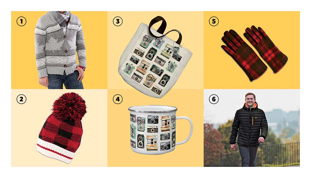 A cardigan, tote bag, gloves, toque, mug and jacket are shown