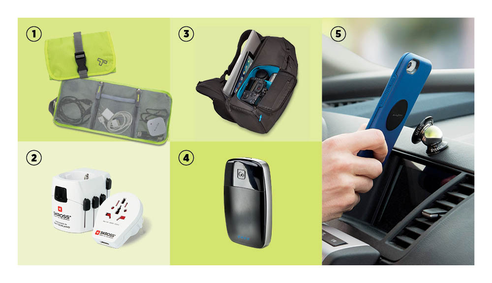 A tech accessory organizer, adapter and USB charger, DSLR backpack, power bank and a dash kit are shown