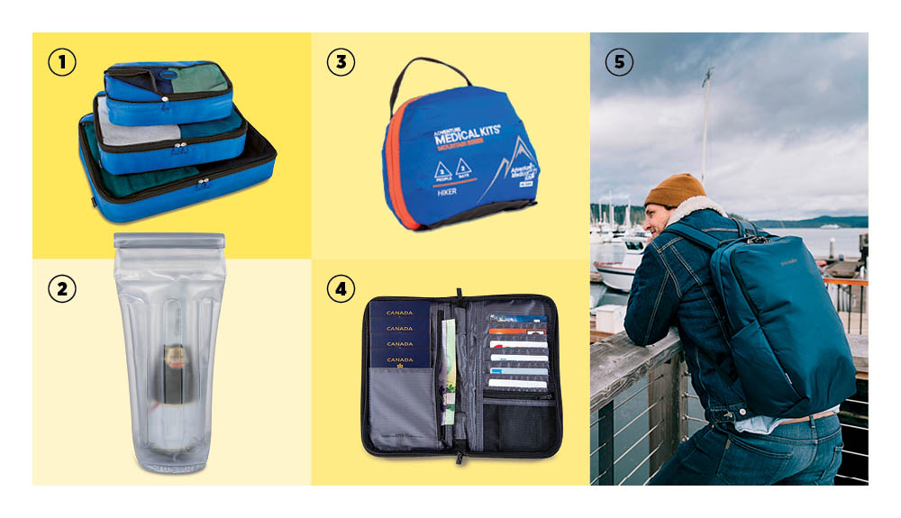Packing cubes, an inflatable bottle pouch, a medical kit, RFID travel organizer and a backpack are shown