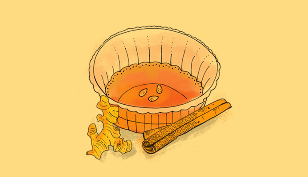 Illustration of glass of orange-coloured Korean persimmon punch with cinnamon stick