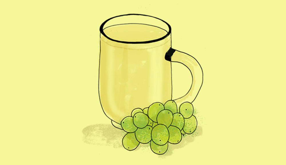 Illustration of glass mug with white wine and a bunch of grapes