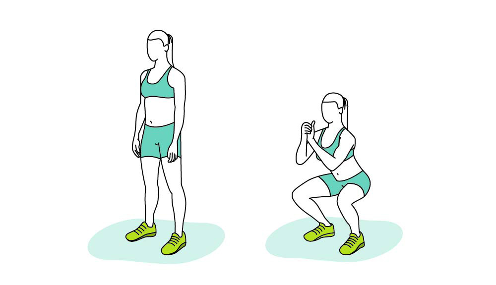 An illustration shows how to do squats properly