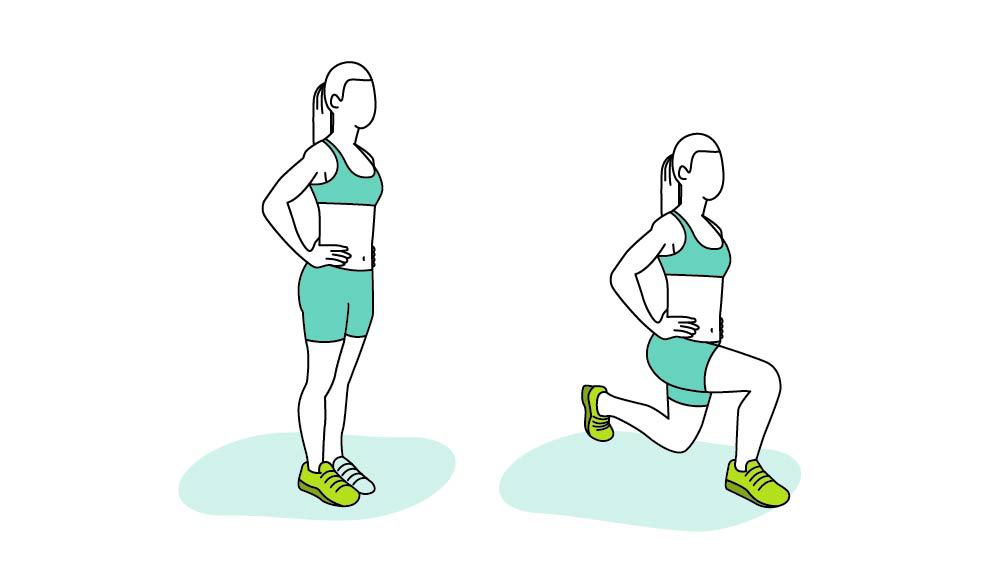 An illustration shows how to do reverse lunges properly