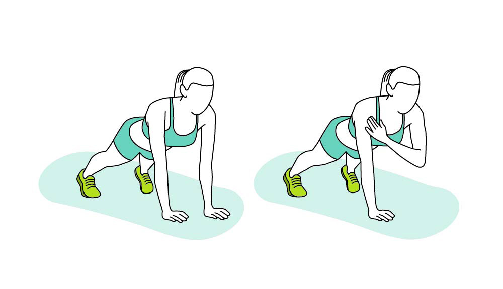 An illustration shows how to do the torsion control plank