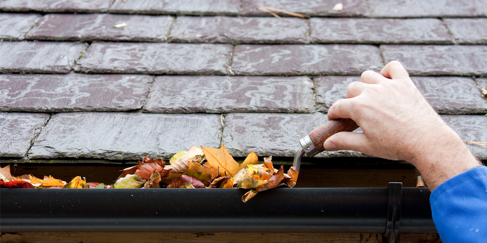 A hand is shown scooping leaves out of an eaves trough