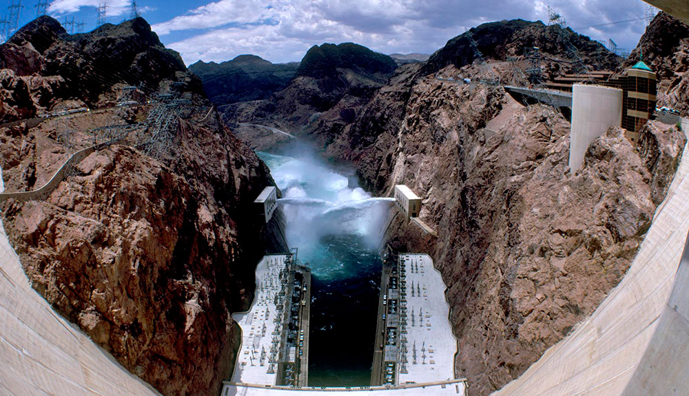 The Hoover Dam in Nevada is shown