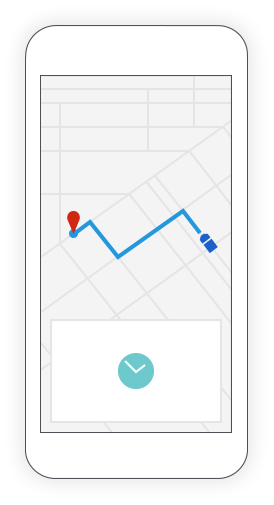 CAA Service Tracker shows CAA driver's location on a map inside a cell phone