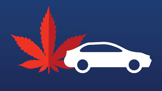 Cannabis leaf and car