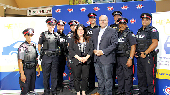 CAA Traffic Safety Coalition partners, launching the 2015 Heads Up! Ontario campaign, promoting awareness of the changes to the Ontario Highway Traffic Act, including distracted driving, cycling and Slow Down Move Over legislation.