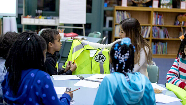 Focus group with students from H.J. Alexander Public School to get their feedback on the CAA School Safety Patrol uniform/vest redesign.