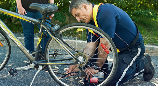 Fixing a flat tire on bike