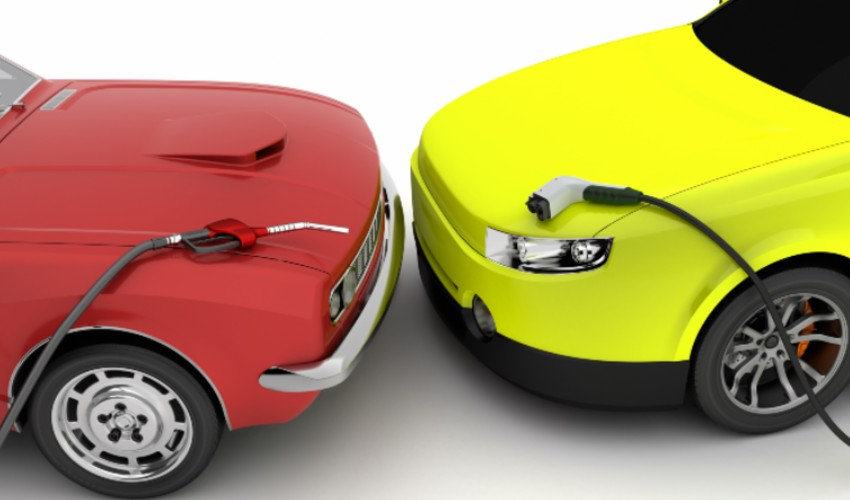 Red car with a gasoline pump and a yellow car with an electric charger.