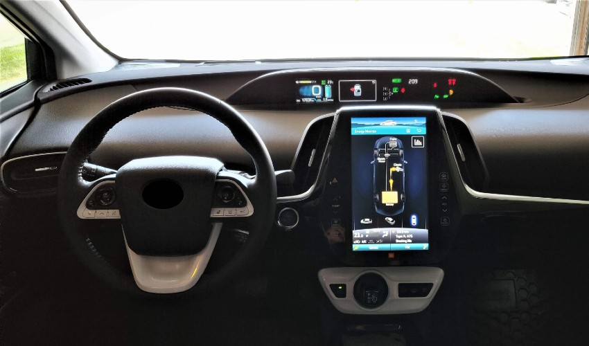 Front dash of electric vehicle.