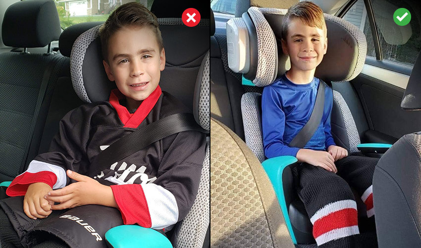 Comparison image: Left image showing a young boy wearing hockey gear in a car seat with an X, indicating improper dressing can affect seat belt fit. Right image showing proper way of dressing, child wearing base layers in car seat with a check mark on the right corner.