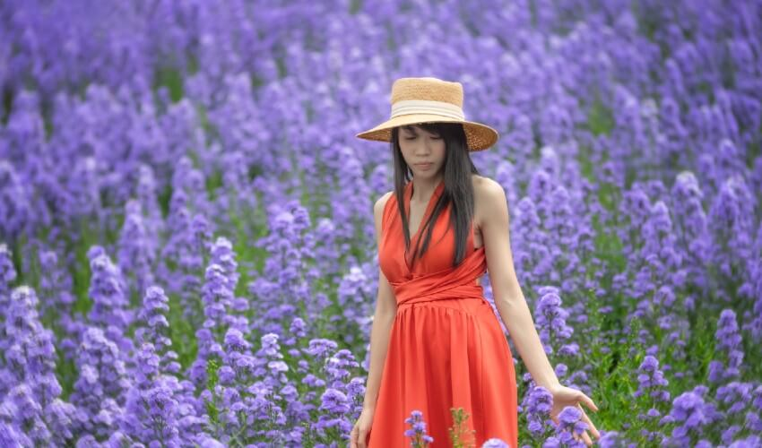Girl standing in a lavender field.
