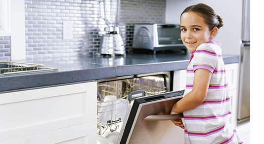 Young girl in front of dishwasher