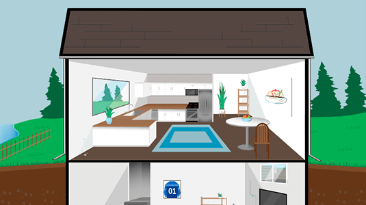 Illustration showing cross section of home interior.