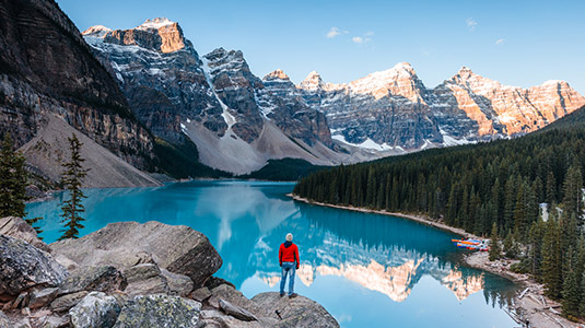 Man looking over Moraine Lake