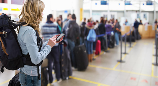 Woman waiting in line at the airport
