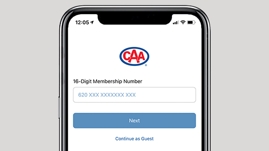 Phone featuring CAA Mobile App Login screen.