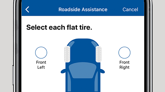 Phone featuring close up of CAA Mobile App Roadside Assistance screen.